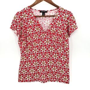 Designers Originals Short Sleeve Foral V-Neck Top
